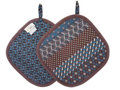 Shweshwe Pot Holder Blue Brown Roosterkoek