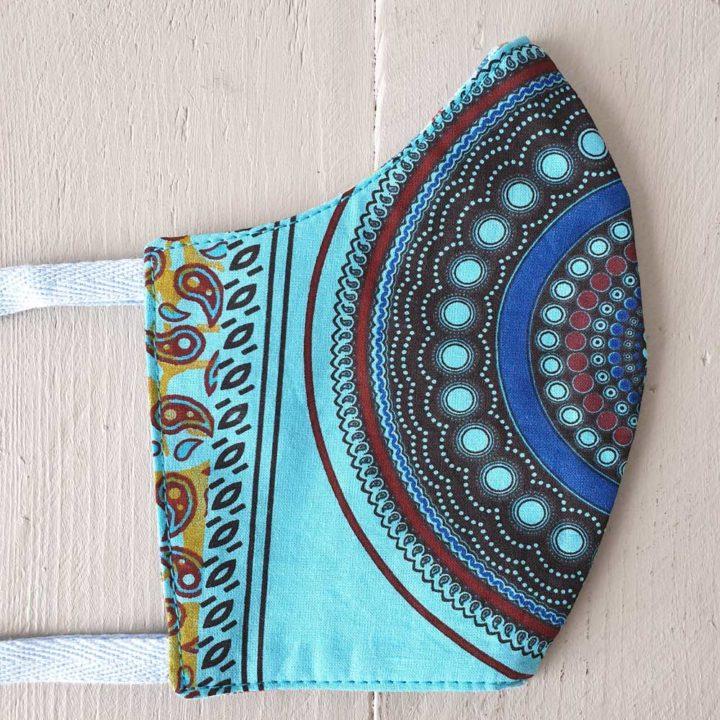 Shweshwe Cloth Mask Bakoven Blue