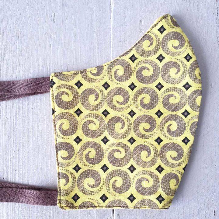 Shweshwe Fabric Mask Citrusdal Yellow